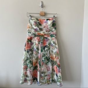 David's Bridal-Floral Ruched Front Fit and Flare